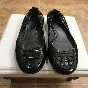 Tory Burch Patent Black Leather Reva Ballet Flats